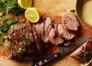 Greek style roasted lamb